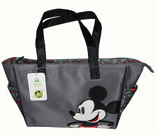 Disney Mickey Mouse Baby Nappy Bottle Diaper Tote Bag Travel Beach Bag Gray NEW