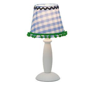 lampada tavolo- scrivania Brilliant JOYCE colore bianco -azzurro con ricami