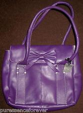 SASHA BEA LADIES' PURPLE LEATHER SHOULDER BAG WITH BOW DESIGN (NWD/Tag)