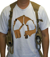 Tactical Cross Draw Shoulder Pistol Gun Holster - TAN
