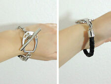 Ralph Lauren Equestrian Horse Bit Buckle Braided Leather Silver Plate Bracelet