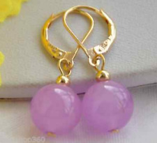 Natural Charming!10mm Purple Round Lavender Jade Dangle Earring