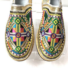 Handmade Gold leather Multicoloured Embroidered Moroccan Berber Shoes  7 /7.5