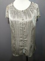 Banana Republic Women's Size S Silver 100% Silk Button Down Shirt Cap Sleeves