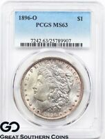 1896-O PCGS Morgan Silver Dollar Silver Coin MS 63 ** Lustrous PQ Better Date!