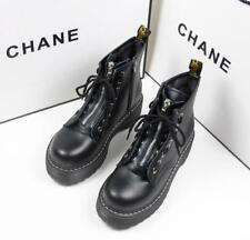 Womens Gothic Punk Zip Chunky Platform Ankle Boots Motorcycle Chunky Ankle Shoes