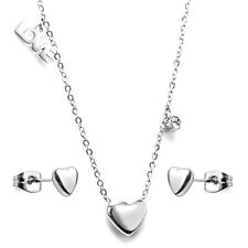Stainless Steel fashion Jewelry Set, LOVE & Heart Necklace & Stud Earrings