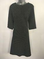 BNWT WOMENS VERY BLACK WHITE STRIPED SHORT SLEEVE SMART FIT & FLARE DRESS UK 20