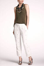 Anthropologie LeifNotes Ivory White Sequin Crepe Jogger Pants, Size 10