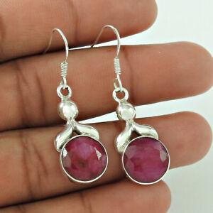 Round Shape Ruby Gemstone HANDMADE Jewelry 925 Fine Sterling Silver Earrings Q4