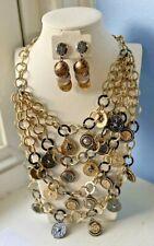 Demi-Parure CHICO'S Huge Gold / Black / Silver BIB NECKLACE Pierced Earring SET
