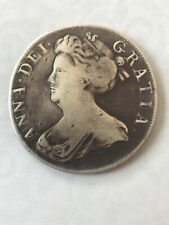 1707 Queen Anne Early Milled Silver Crown Septimo Edge Coin