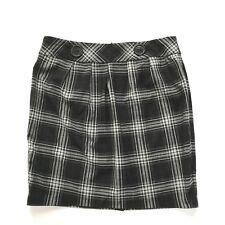 Iz Byer California Skirt Juniors 9 Plaid Pencil Grunge Button Lightweight Black