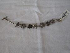 "Sterling Silver ""Sealife"" Seashell Starfish Sand Dollar Bracelet 7"" NWT"