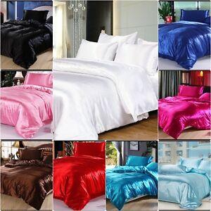 SALE - 1000 TC Super Soft Satin Silk UK Size & Color Solid Duvet Hotel Bedding's