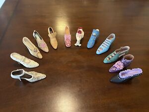 Vintage Small Collectible Ceramic Shoes, Lot Of 12