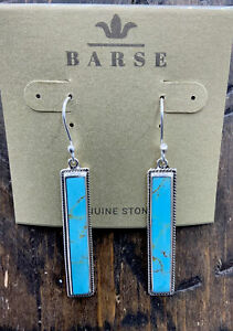 Barse Taxco Linear Earrings- Turquoise & Sterling Silver- New with Tags