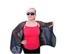 Plus size Black Chiffon Bolero Cardigan Shrug Open Front Top Sheer Jacket