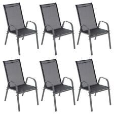6er Set Gartenstuhl Stapelstuhl Campingstuhl Textilene schwarz Rahmen anthrazit