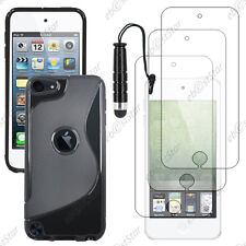 Housse Etui Coque Silicone Noir Apple iPod Touch 5G + Mini Stylet + 3 Films