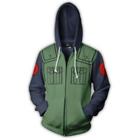 Naruto0 Kakashi Anime Hoodie 3D Printed Sweatshirts Coat Zipper Jacket Cosplay