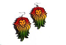 Rasta Lion Art Print Wood Earrings