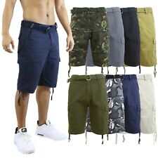 Mens Cargo Shorts Cotton Zip Button Belted Distressed Pockets Slim Fit Lounge