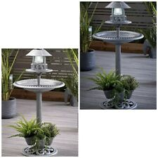 Solar Light Bird Bath With Planter Garden Decor