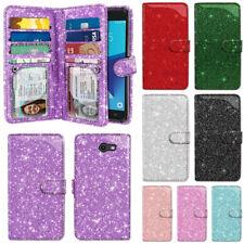 For Samsung Galaxy J7V J727/ J7 Sky Pro/ Perx Glitter Flip Wallet TPU Case Cover