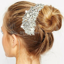 Wedding Fab Austrian Crystal Flower Silver Fascinator Hair Pin Clip Dress Comb