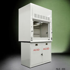 White new 4' - Chemical Laboratory  Fume Hood w/ Epoxy Top and acid Cabinet  ---