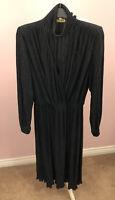 Vtg Glam Dress Sparkle Amada Made In Italy Size EU40  UK 12 Black Faux WrapFront