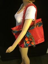 Karia Red Faux Leather Bag With Gold Chain Straps B#6