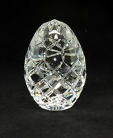 "4"" High Crystal Egg Faceted Paperweight Heavy FLAW"