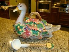 Fitz and Floyd Autumn Splendor Gray Goose Soup Tureen with Ladle - EUC