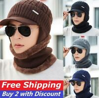 Unisex Men Winter Warm Hat Craft Knit Visor Beanie Fleece Lined Ear Flap Cap US