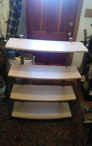 4 Tier Metal & Particle Board Shelf Gray & Light Brown Bookshelf