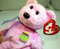 """TY Beanie Babies """"Eggs"""" USA 8"""" with tags Teddy Bear Pink Easter"""