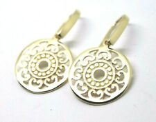 Kaedesigns New Genuine 9CT YELLOW GOLD FLAT FILIGREE DROP ROUND EARRINGS