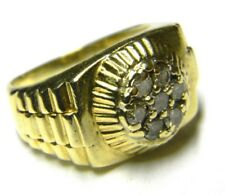 style cluster diamond ring 13 grams mens 14k yellow solid gold rollie president