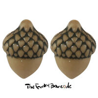TFB - TINY WOODLAND ACORN STUD EARRINGS Funky Novelty Quirky Tree Cute Squirrel