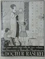 PUBLICITÉ DE PRESSE 1920 RASUREL SOUS-VÊTEMENTS ET PANTOUFLES HYGIÈNIQUES