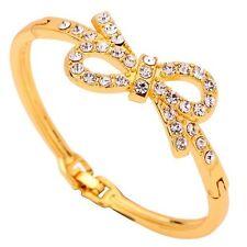 Bow Shape Bracelet Fashion Elegant Yellow Gold Bangle Inlay Crystal Jewelry