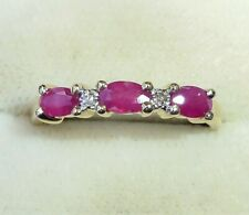 9ct Gold Ruby & Diamond Half Eternity Ring, Size Q