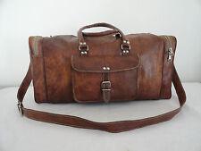 """21"""" Real Brown Leather Duffle Bag Hold-All Bag Sports Gym Bag Luggage Handbag"""