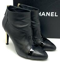 Authentic CHANEL Coco Mark Bootie Heels #37 US 6.5 Black Leather Zipper Rank AB