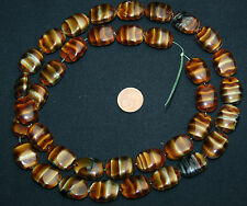 Strang 64 cm böhmische Glasperlen braun marmoriert Tigeraugen flach Oval