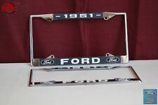1951 Ford Car Pick Up Truck Front Rear License Plate Holder Chrome Frames New
