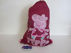 Kinder Peppa Pig Pink/Lila Kordelzug Turnschuhe/Schultasche 42.5m X 31cm ( Krs )