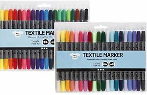40 Textilmalstifte, Textilstifte Textilmarker Standardfarben +Zusätzliche Farben
